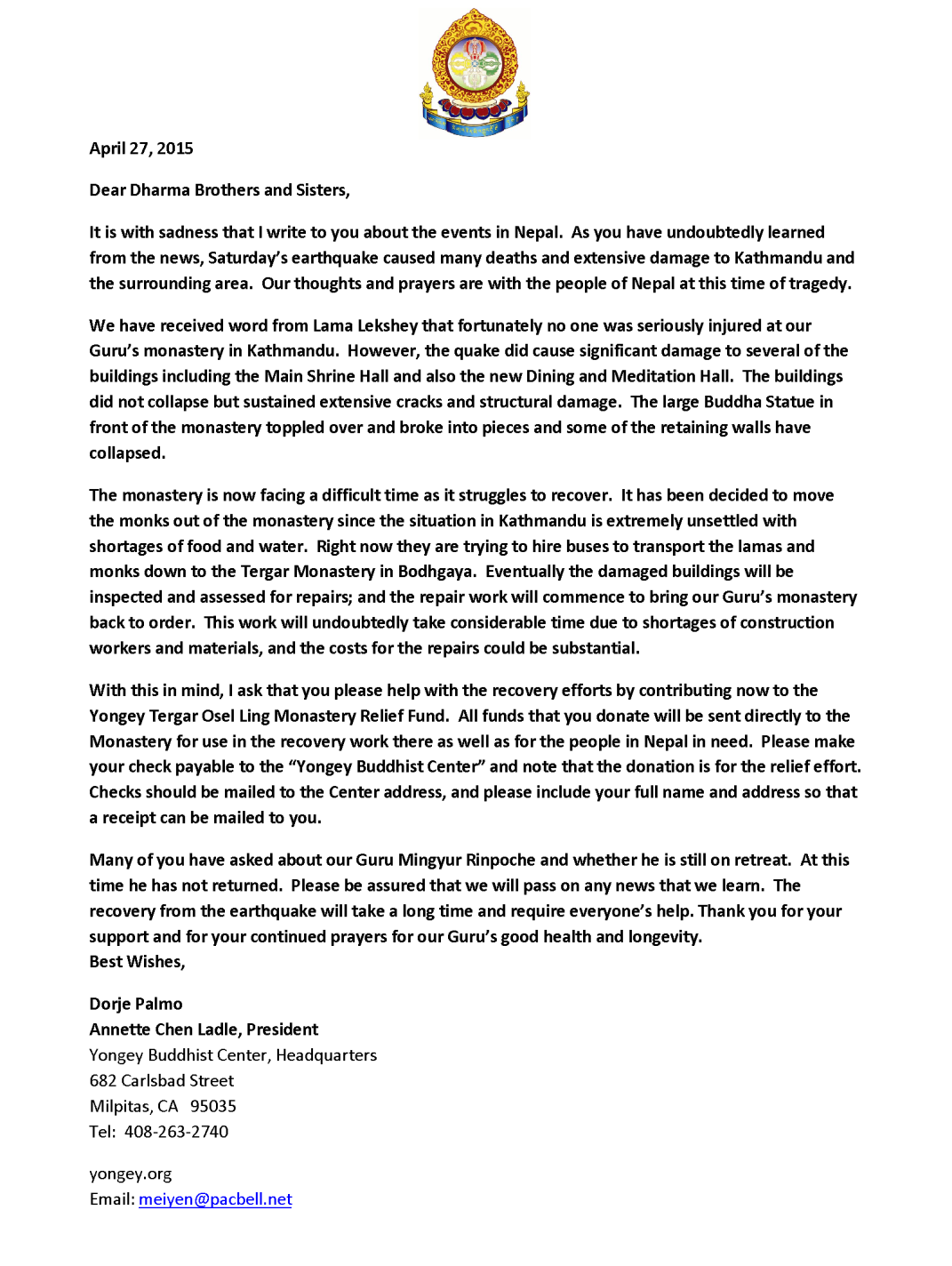 President Letter - Earthquake  (4-27-15)